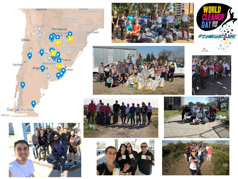Karte mit den Standorten der deutsch-argentinischen Vereine und Mitglieder von #JungesNetzwerk beim World Celanup Day am 21. September 2019